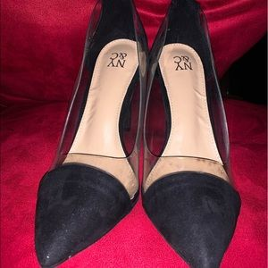 NY & Co black and transparent high heel shoes